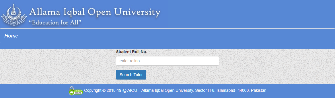 AIOU TUTOR AUTUMN 2020 DOWNLOAD